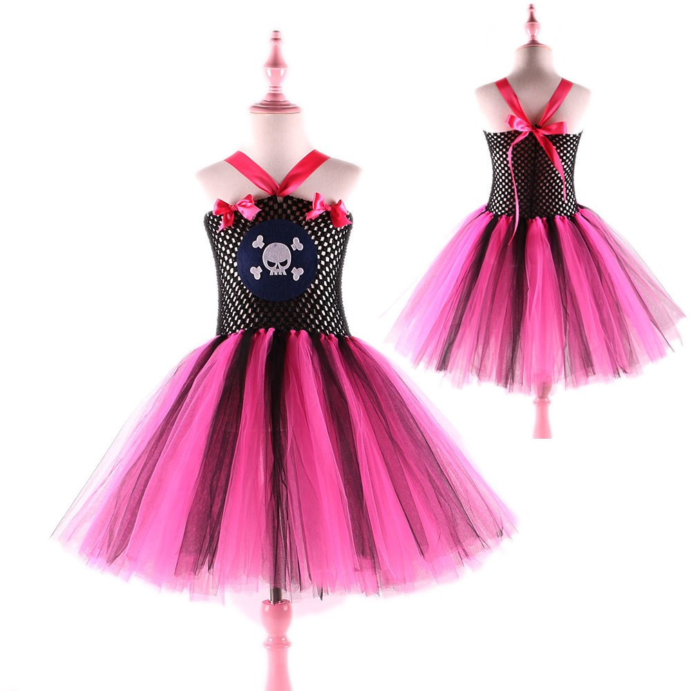 Skull Pattern Girl Pirate Costume Tutu Dress Princess Summer Dress Baby Kids Party Dresses Children Cosplay Outfits Halloween