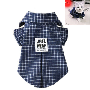 Small Dog Pet Cat Clothes Beautiful Cat Apparel Fashion Plaid Shirt for Cats Kitten Cotton Puppies Summer Clothing XS S M L XL