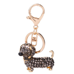 Small Lovely Cute Rhinestone Dachshund Dog Design Keychain Bag Car Key Ring Charm Pendant Best Gifts for Purse - ShopeeShipee