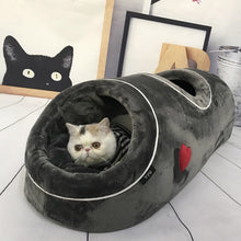 Soft Cat Cave House Warm Home For Kitten Sleeping Pet Funny Bed With Flannel Mat Cats Tunnels Nest For Winter Playing Toys Beds