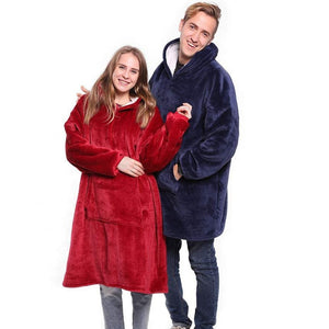 Solid Blue Grey Red Fleece Hooded Blanket With Sleeves Sherpa Plush Winter Outdoor hoodie Robe Soft Warm Wearable TV Blanket