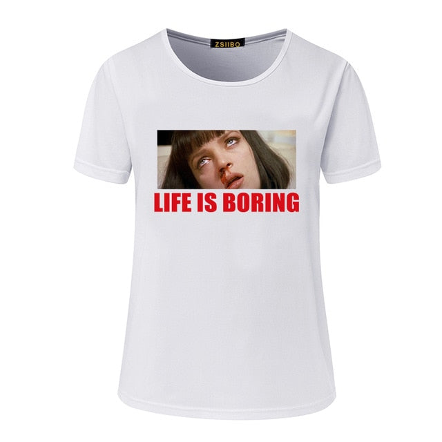 Spoof Harajuku White Female T-shirt 2017 T Summer Novelty Tee Shirt Femme Life is Boring Letters Print Women Tshirt