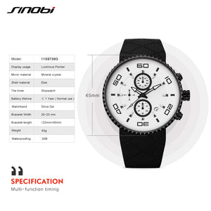 Sports Watches Fashion Men's Stopwatch SINOBI 30m Waterproof Silicone Band Sport Chronograph Watch 3 Colors relojes para hombre - ShopeeShipee