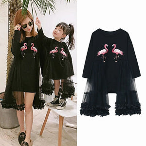 Spring Autumn mother daughter dress matching family outfits mother kids dress matching outfits flamingo embroidery 1 to 11 yrs - ShopeeShipee