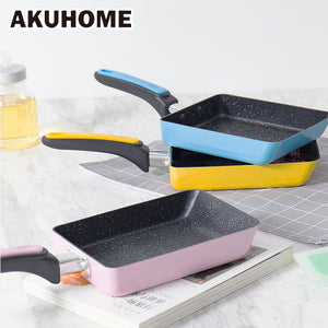 Stainless Steel Nonstick Frying Pan Handel Pancake Omelette Egg Pots and Pans Rectangle Cookware Set Deep Gas Induction