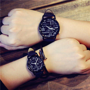 Student Fashion Trend Math Dial Lovers' Watch Men Campus style Casual Quartz Watch Women Sport Soft Leather Wristwatch gift hour - ShopeeShipee