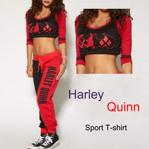 Suicide Squad Harley Quinn Ladies Cosplay Costumes Hoodies Sweatshirts T-shirt Top Joggers Trousers Sport Gym Pants Tracksuit - ShopeeShipee