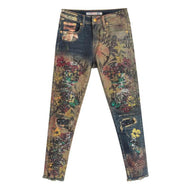 Summer Fall Designer Women Colored Embroidery High Waisted Ripped Rivets Denim Trousers , Painted Jeans Cross Pants For Woman