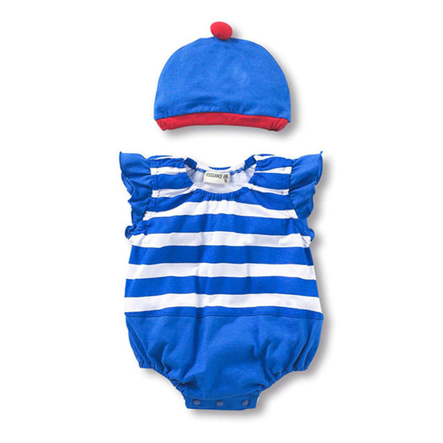 Summer Newborn Sleeveless Baby Girls Jumpsuits Clothing Sets (Romper+Hat 2 pcs) Infant Baby Boys Clothes Babies Rompers