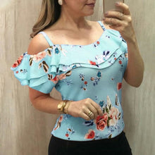 Summer Women Elegant Casual Blouse Floral Print Off shoulder Short Sleeve Shirt Femme Top Woman Clothing Plus Size 5XL SJ2264V