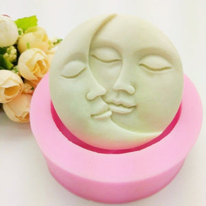 Sun and Moon Face Silicone Mold Craft DIY Fondant Chocolate Soap Mold Handmade Polymer Clay, Wax, Crayon, Cake Decoration Tools