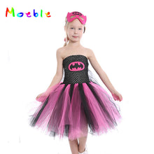 Super Hero Batgirl Girl Tutu Dress with Mask Kids Party Dresses for Halloween Girls Children Cosplay Costume Princess Prom Dress