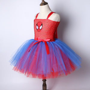 Superhero Inspired Girls Tutu Dress Red & Blue Girl Party Dress Halloween Christmas Spiderman Cosplay Costume Kids Fancy Dress