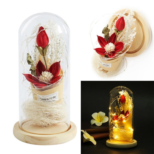 Table Decorative Ornament Red Silk Rose Lily and Led Light with Fallen Petals in a Glass Dome on a Wooden Base Home Decor Gift - ShopeeShipee