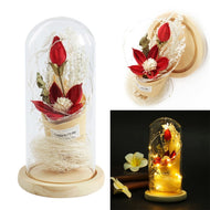 Table Decorative Ornament Red Silk Rose Lily and Led Light with Fallen Petals in a Glass Dome on a Wooden Base Home Decor Gift