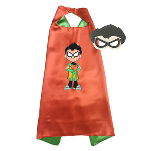 Teen Titans Costume Capes with masks Girls Halloween Costumes for Kids Birthday Party Favor Costume
