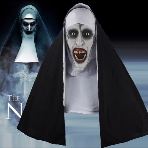 The Nun Horror Mask Cosplay Valak Scary Latex Masks With Headscarf Full Face Helmet Halloween Party Props - ShopeeShipee