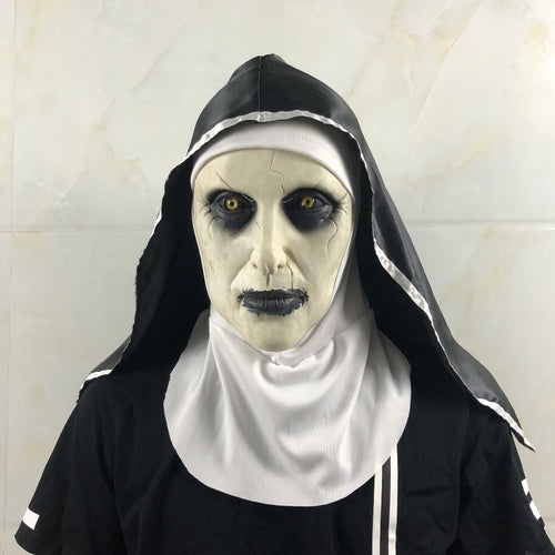 The Nun Horror Mask  Halloween Party The Conjuring Valak Scary Latex Masks With Headscarf - ShopeeShipee