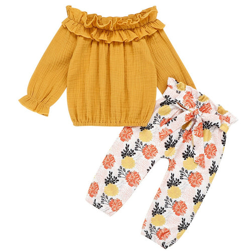 Toddler Kid Baby Girl Clothes Set Floral Print Off Shoulder pullover Tops+Long Pant Fall Outfits Cotton Blend lovely costume D30 - ShopeeShipee