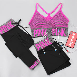 Toppick 3 Piece Women Yoga Sets Pink Letter Sport Wear Women Fitness Sport Bra+Yoga Pants+Shorts Sport Set Workout Gym Clothing - ShopeeShipee