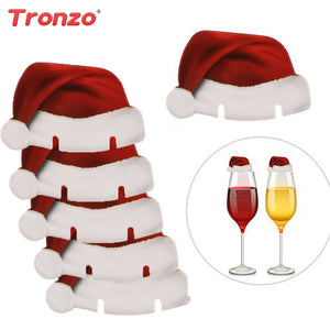 Tronzo Christmas Decoration For Home 30pcs Santa Claus Hats Paper Wineglass Card Christmas Ornaments Wine Glass Card Xmas Decor