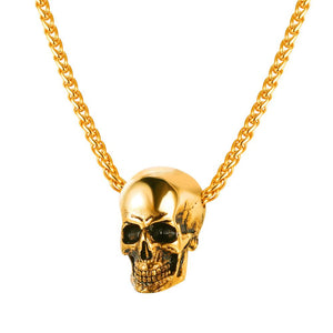 U7 Halloween Jewelry Skull Necklace Stainless Steel Gothic Biker Pendant & Chain For Men/Women Punk Gift Gold/Black Color P1133