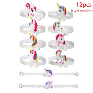 Unicorn Party Rubber Bangle Bracelet Keychain Birthday Party Decorations For Kis Favors Colorful Unicorn Decor Party Supplies
