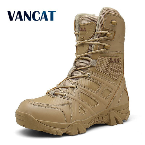 Vancat Men High Quality Brand Military Leather Boots Special Force Tactical Desert Combat Men's Boots Outdoor Shoes Ankle Boots - ShopeeShipee