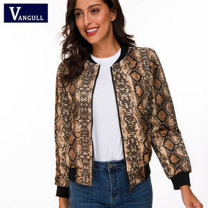 Vangull Snake Skin Print Zipper Closure Sreetwear Women Jackets 2019 Brand Spring New Long Sleeve Casual Baseball Jackets - ShopeeShipee