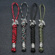 Viking Rune Bead Lanyard Keychain Outdoor Survival Paracord Rope Keychain Spartan Warrior Jewelry Handmade Car Key Knife Keyring