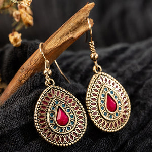 Vintage bohemian red long water drip dangle drop hanging earrings for women wedding gift indian jewelry girl ornament - ShopeeShipee
