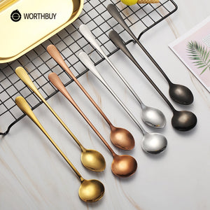2 Pcs Colorful Coffee Scoop Stainless Steel Coffee Spoon With Long Handle Kitchen Accessories Dessert Cafe Tea Spoon