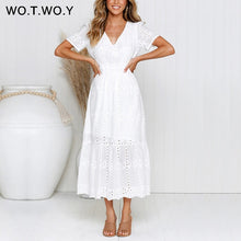 WOTWOY White Embroidered Cotton Ankle-Length Dresses Women Summer Chain Hollow Out Slim A-Line Long Dress Female Casual V-Neck