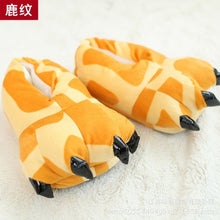 Winter Adult Kids Cow Tiger Warm Cartoon Cute Indoor Floor Slippers Paw Claw Home Shoes Christmas Pajamas Hot Sale Gift