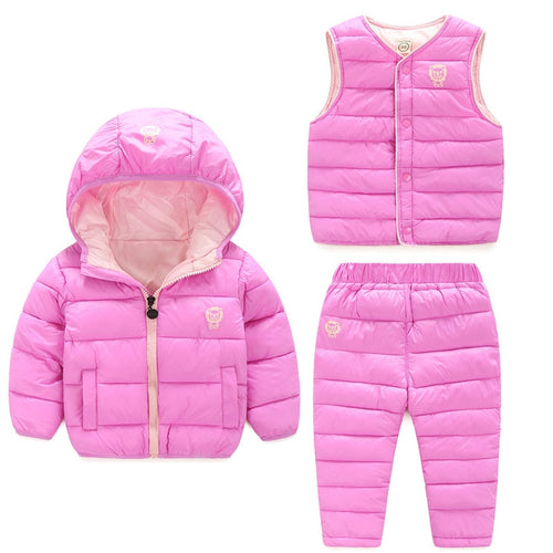 Winter Children's Clothing Set Kids Ski Suit Overalls Baby Girls Boys Down Coat Warm Snowsuits Jackets+Vest+Pants 3Pcs Snow Wear - ShopeeShipee