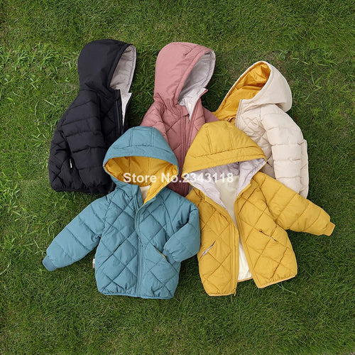 Winter Kids Fashion Solid Color Quilting Down Parkas Jackets 2019 Boys Girls Warm Thicken Hooded Zipper Cotton-padded Coats - ShopeeShipee