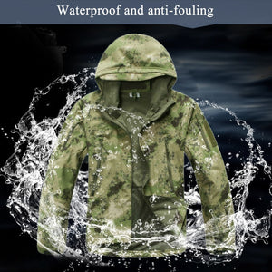 Winter Outdoor Waterproof Warm Camouflage Coat Tops Men Training Climbing Tactical Fleece Lining Thermal Hooded Jacket Clothing - ShopeeShipee