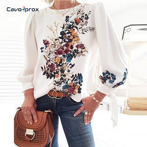Women Flora Printed Long Sleeve Loose Style Pullover Blouse Chic Casual Spring Fall Fashion New Trends Top Shirt - ShopeeShipee
