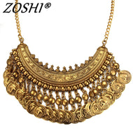 Women Gypsy Necklace Fashion Jewelry Bohemian Antique Gold Coin Necklace Vintage Trendy Turkish Indian Ethnic Necklace 2019