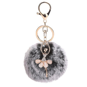 Women Key Ring 8CM Cute Dancing Angel Keychain Pendant Holder Pompoms Key Chains Lady Fashion Decoration Bag Keychains z0503 - ShopeeShipee