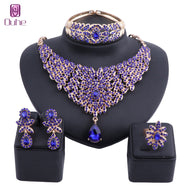 Women Moroccan style Statement Necklace Earrings Bangle Ring Set with Crystal Rhinestones Luxury Bride Wedding Jewelry sets