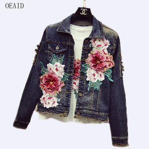 Women's Denim Jacket 2020 New Female Denim Jacket Women Denim Coat Embroidery Europe England Style Hot Denim Jackets For Girl