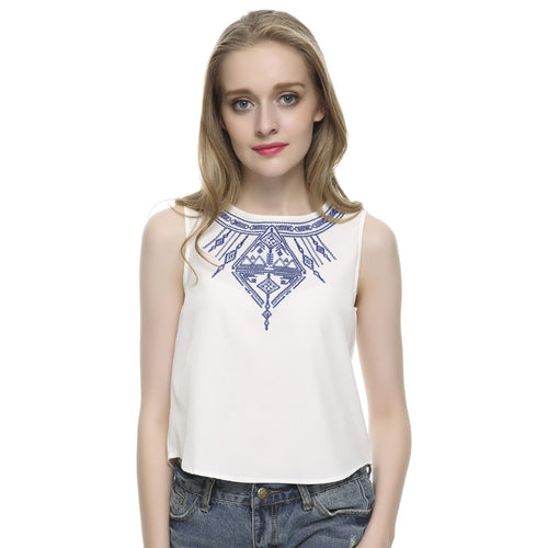 Women's Embroidery white crop tops casual blouses blusa feminina O neck sleeveless shirt slim top low price WT07 - ShopeeShipee