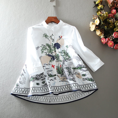 Women's Spring Summer A-Line embroidery vintage shirt Female casual loose cotton tops blouse TB1116 - ShopeeShipee