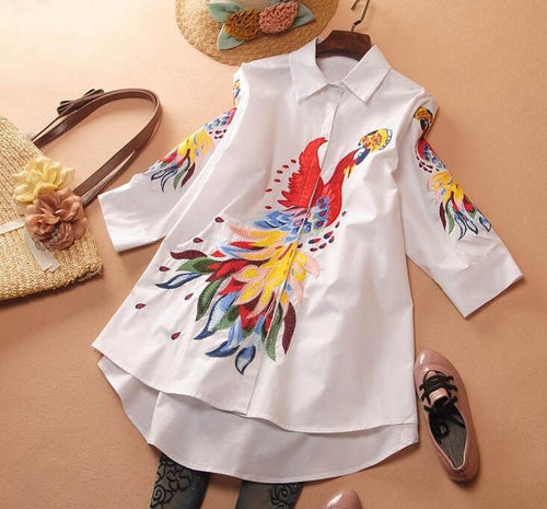 Women's Spring peacock embroidery white Shirt Female Vintage National Loose Casual Plus Size Long Shirt Blouse - ShopeeShipee