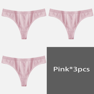 Women's Underpants Sexy Lingerie Cotton G-String 3Pcs Panties Comfortable Thong Low-Rise Underwear Women String Ladies Intimate - ShopeeShipee