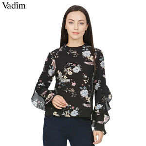 Women sweet butterfly sleeve floral print shirt vintage stand collar loose blouses female casual retro brand tops blusas LT1545 - ShopeeShipee