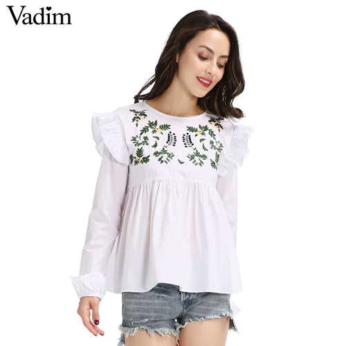 Women sweet embroidery ruffles shirts long sleeve white blouse back button ladies fashion streetwear tops blusas LT1595 - ShopeeShipee