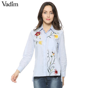 Women sweet floral embroidery striped long shirts long sleeve blouse side split turn-down collar casual tops blusas LT1120 - ShopeeShipee