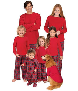 XMAS Family New 2017 Christmas Pajamas Set Womens MensKids Long Sleeve Solid Tops Plaid Pants Sleepwear Nightwear
